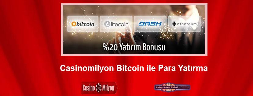 Casinomilyon Bitcoin ile Para Yatırma Bonusu