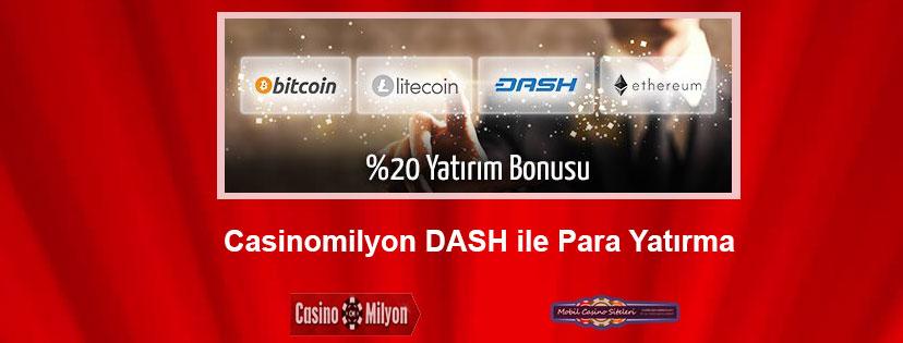 Casinomilyon Dash ile Para Yatırma Bonusu