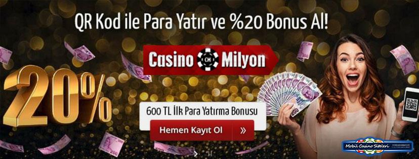 Casinomilyon Casino QR Kod Bonusu ile 250 TL Verecek