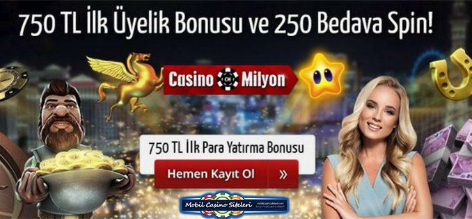 Casinomilyon ilk üyelik Bonusu 750 TL Veriyor